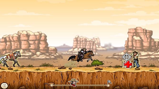 Ggunshot cowboy shooting indians first level